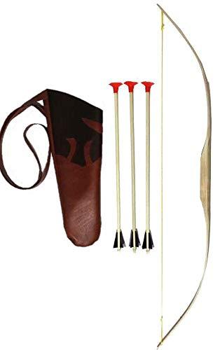 LUM Mini-Bogen Set: Bogen Esche 90 cm mit Köcher aus Kunstleder 40cm und DREI Pfeilen
