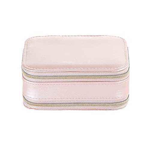Grebest Caja de almacenamiento portátil con cremallera doble Joyero portátil cómodo de piel sintética Mini Display pendiente caso para anillos rosa