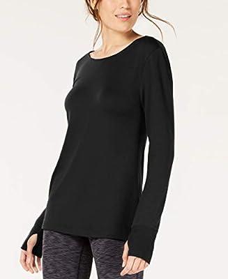 Ideology Womens Lattice-Back Long-Sleeve Tunic Color Black Size Large
