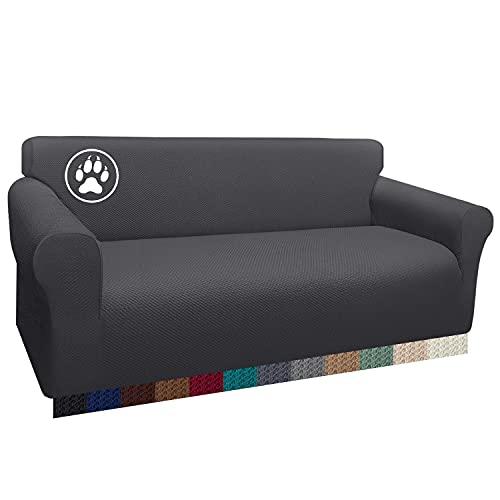Luxurlife Funda de sofá Impermeable 3 Plazas Funda para Sofá Elástica Antideslizante Protector de Muebles Patrón para Sala de Estar (3 Plazas,Gris)