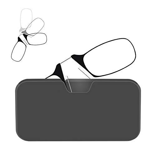 GHzzY klem neus rusten knijpen leesbril voor mannen & vrouwen + Universal Pod Case - Kan worden geplakt op de achterkant van de telefoon