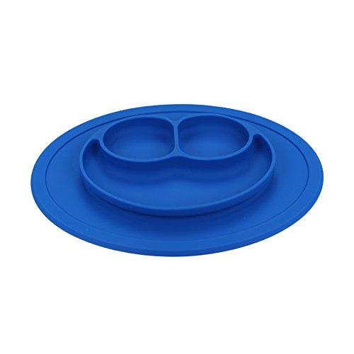 Coque en silicone Assiette Grade Silicone Ventouse antidérapante Portable divisé Section Smile pour nourrir bébé Plateau Assiette Bol bleu