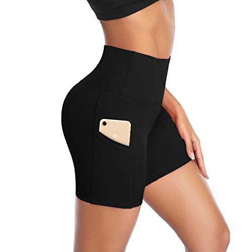 DAYOUNG Women Yoga Shorts High Waist Tummy Control Non See-Through Workout Running Athletic Legging Short with Pockets Y27-Black-M