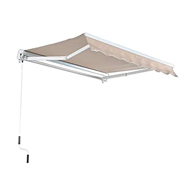 MCombo 13x8 / 10x8 /12x10 Feet Manual Retractable Patio Door Window Awning Sunshade Shelter Outdoor Canopy (13x8 FT, Brown)