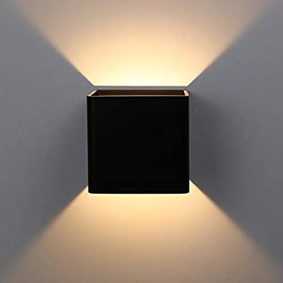 Ralbay Black Modern LED Wall Sconce Lighting Fixtures Aluminum 10W Warm White 3000k Up and Down Indoor Lighting for Living Room Bedroom Hallway Not Dimmable
