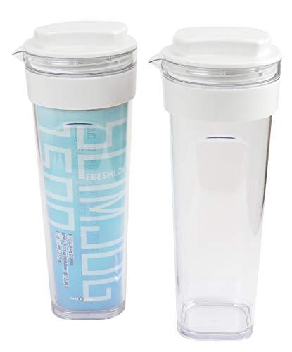 【タケヤ公式】 スリムジャグ Ⅱ 1.5L ココナッツホワイト 2本セット  冷水筒 熱湯 横置き OK 冷蔵庫ポケット 洗いやすい 取ってなし Freshlok TAKEYA