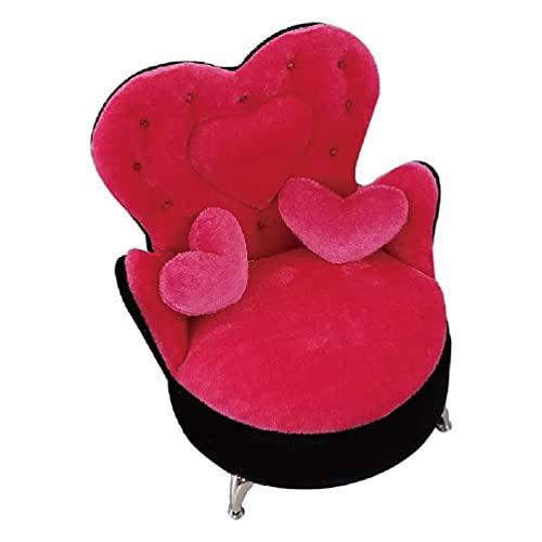goodluccoy 1/6 Dollhouse Fancy Couch Sofa Rose Pink Schmuck Aufbewahrungsorganisator Box Flip Can Open Fächer Sessel Sofa Box Geschenk Glas Schmuckschatulle Silber
