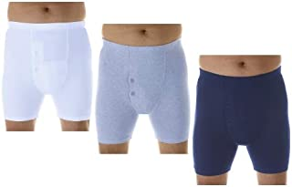 3-Pack Men's Assorted Regular Absorbency Washable reusable Incontinence Boxer Briefs Large (Waist 38-40)