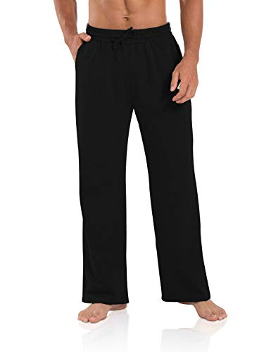 Agnes Urban Men's Joggers Sweatpants Open Bottom Straight Leg Casual Loose Fit Running Athletic Jersey Pants with Pockets Black