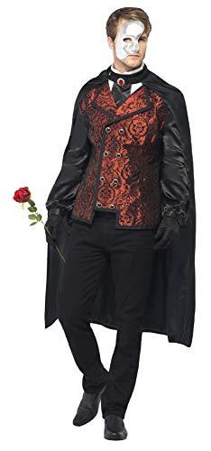 Smiffys, Herren Dark Opera Kostüm, Umhang, Mock Hemd, Maske, Handschuhe und Kunstrose, Größe: L, 24574