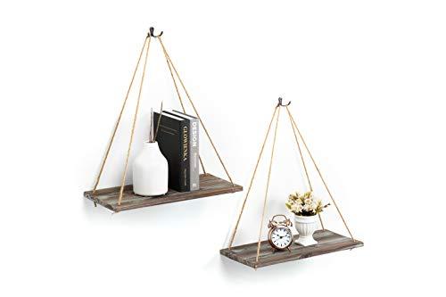 J Jackcube Design Rustikales Holz Hängeregal Set von 2 Bauernhaus Bohemian Raumdekor Floating Seil Display Regal Pflanzenhalter für Wohnzimmer Schlafzimmer Küche Seilregale MK555AA