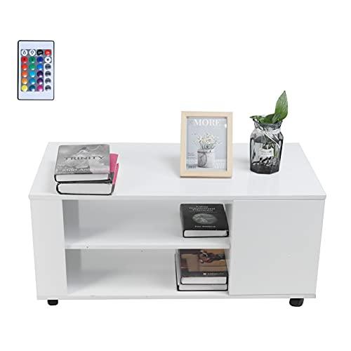 Ausla Mesa de café, mesa de centro con LED, diseño moderno, rectangular, muebles de salón para interiores con puerta única, carga máxima de 50 kg, 95 x 50 x 43 cm, color blanco