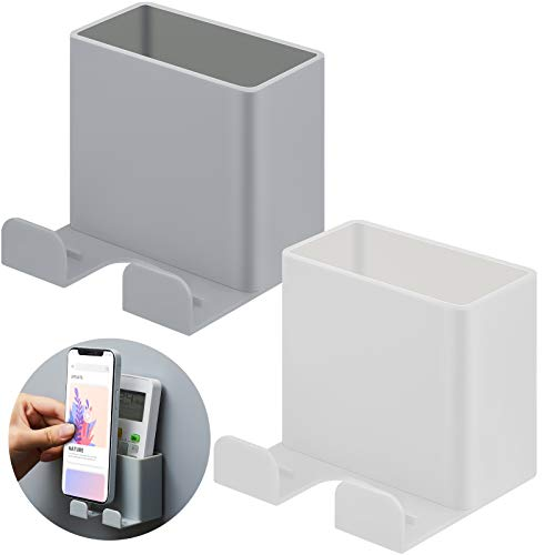2 Pieces Wall Mount Phone Holders Adhesive Wall Phone Storage Box Wall Mounted Phone Holder Wall Smartphone Stand for Home Bedroom Bathroom Kitchen Office Wall