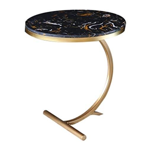 Tables basses Coin Canapé en Fer Forgé Table Ronde en Marbre Petite Table Latérale Table D'appoint Cadeau (Color : Black, Size : 55 * 55 * 61cm)