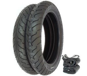 Shinko 712 Tire Set - Compatible with Honda CB400T Hawk I 1978-1979 - Tires Tubes and Rim Strips