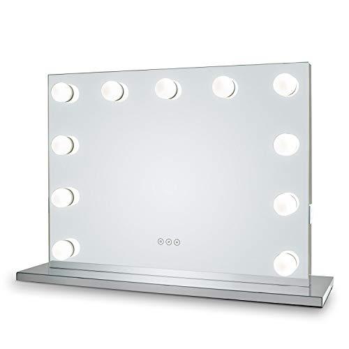 Glamour Mirrors™ Whitney Hollywood Espejo | Luces regulables | Cambio de color de día a noche | 2 enchufes incorporados | Altavoces Bluetooth 80 cm x 60 cm