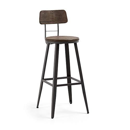 Kave Home - Taburete Alto de Bar Rihana marrón 103 cm con R