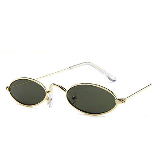 MEILUAIMU Gafas de Sol de Metal Gafas de Sol Redondas Caja Ultra pequeña Pieza de océano Marco Dorado Gafas de Sol con Personalidad de Moda