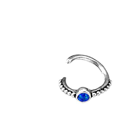 CHICNET Women's and Men's Piercing Ring Lip Labret Ear Lobe Helix Tragus Conch Nostril Septum Made of 925 Sterling Silver and Opal Stone Blue Diameter 6 mm 7 mm 8 mm Thickness 1.2 mm Dots