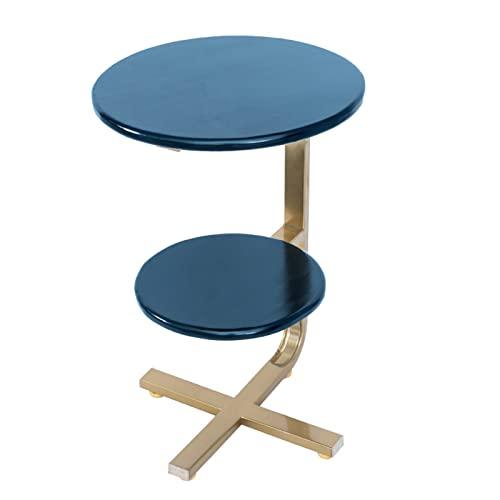 tavolino per Tavolino Minimalista in Legno massello, tavolino portaoggetti in Ferro battuto a 2 Strati e tavolino angolare, tavolino Rotondo con Divano in Soggiorno, 40x40x62cm(Color:Style1)