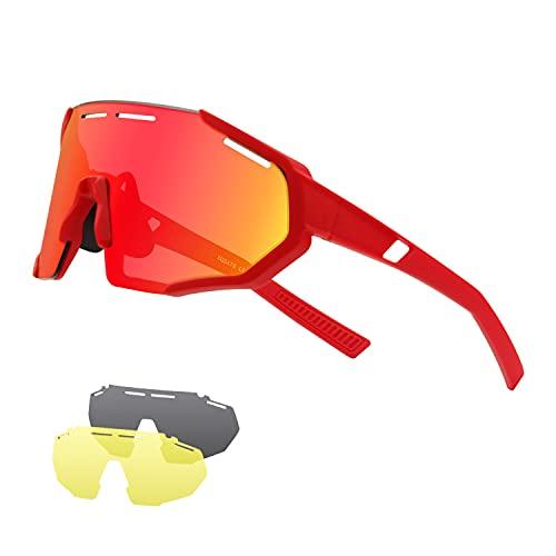 DUDUKING Gafas Sol Polarizadas Hombre Mujer Gafas de Sol Deportivas UV 400 Protección Gafas con 3 Rodajas De Lentes Intercambiables para Ciclismo Correr Golf Beisbol Surf Conducción Esquiando (Rojo)