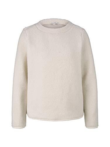 TOM TAILOR Damen Strick & Sweatshirts Sweater aus Teddyfell Soft Powder...