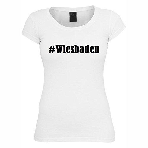 Damen T-Shirt #Wiesbaden Größe M Farbe Weiss Druck schwarz