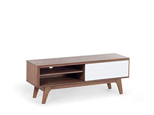 Modern TV Stand Media Unit Dark Wood Frame White Cabinet Shelf Storage Buffalo