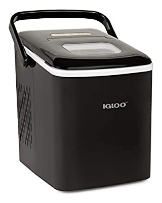 Igloo ICEB26HNBK Automatic Self-Cleaning Portable Electric Countertop Ice Maker Machine With Handle, 26 Pounds in 24 Hours, 9 Ice Cubes Ready in 7 minutes, With Ice Scoop and Basket,Black
