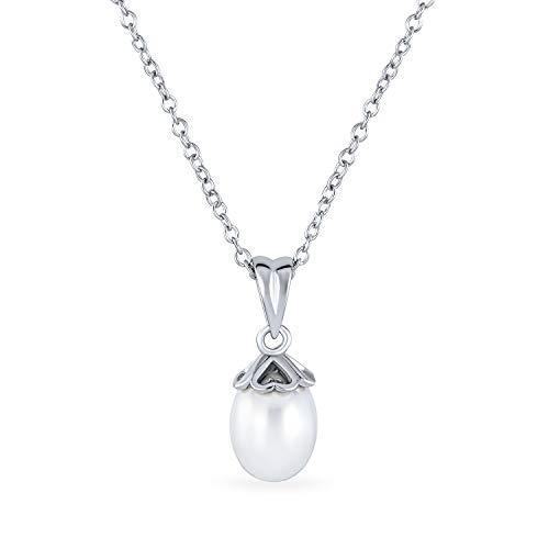 Bling Jewelry Gorra de Corazones románticos Femeninos Set 9MM Blanco simulado Perla Colgante Collar para Mujeres Novia graduación .925 Plata de Ley