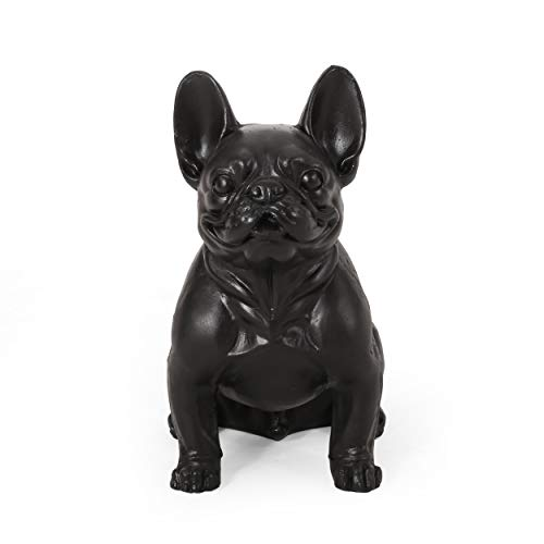 Christopher Knight Home Tamara Outdoor French Bulldog Garden Statue, Matte Black