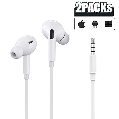 [Upgrade Version] Apple MFi Certified Earbuds with 3.5mm Headphone Plug(Built-in Microphone & Volume Control) in-Ear Headphone Headset Compatible with iPhone,Samsung,iPad,Compter,MP3/4,Android-2 Pack