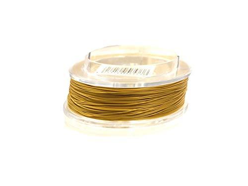 Schmuckdraht, Edelstahldraht, Stahlseil, 0,4mm, für Kette, Armband, nylon ummantelt hautverträglich reißfest, 5m Rolle metallic gold zum Schmuck selbst machen
