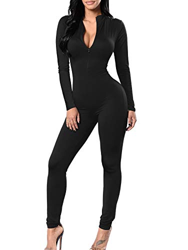 TOB Women's Soft Long Sleeves Zip Up One Piece Bodycon Jumpsuits Playsuits Black
