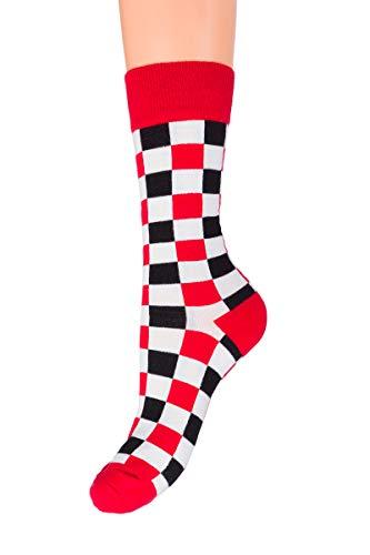 SOFTSAIL Unisex bunte Wadenlänge Socken Dicke Baumwolle Elastisch Warm Universal Gemusterte Strümpfe ZX3-6888 Gr. Medium, rot