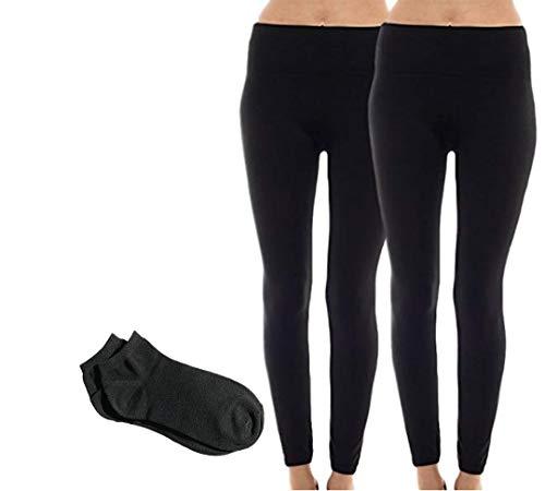 Sofra Women's Classic High Waisted Wide Band Yoga Fleece Plus Size & Regular Leggings (One Size (0-10), 2 Pack: Black Fleece w/Free Socks)