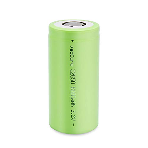 Veocore 32650 Flat Top Rechargeable Battery 6000mAh 3.2V Lithium Iron Battery(1 Piece)