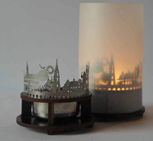 Freiburg-Skyline Windlicht Schattenspiel Premium Geschenk-Box Souvenir, inkl. Kerzenhalter, Kerze, Projektionsschirm & Teelicht