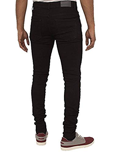 Enzo New Mens Designer Stretch Super Skinny Denim Jeans Blue Black All...