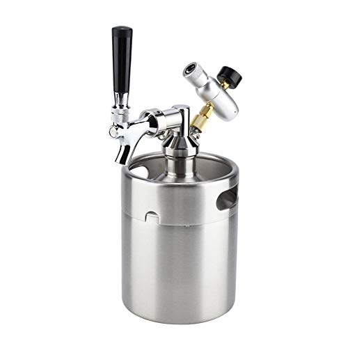 Fried Brewing 2L Mini Edelstahl Bier-Fass Homebrew-Hahn unter Druck Bierbrauen Craft Beer Dispenser System Zu Bag Versatile (Color : Silver)