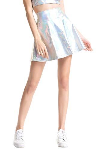 Falda Brillante Acampanada Plisada Línea A Círculo Skater Faldas De Mujer De Plata S