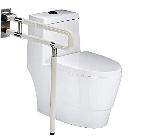 RANZIX klappbare WC & Toiletten Aufstehhilfe - Stützgriff Sicherheits Haltegriff Stützklappgriff behindertengerecht Toiletten Stütz-Haltegriff hochklappbar robust & solide verarbeitet (Weiß, 750MM)