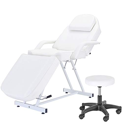 PALDIN Massage Table 3 Section Adjustable Beauty Salon Couch Recliner Chair Treatment Tattoo Facial SPA Massaging Bed Table+Stool (White)(Includes 2 Packages)