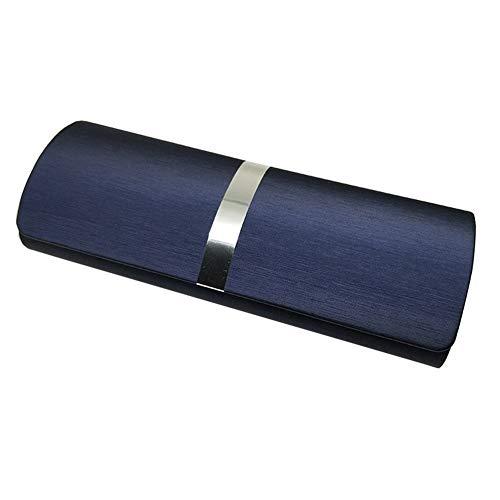 LHYLHY Funda de piel para gafas de hombre, resistente al agua, marco duro, caja de gafas de lectura para mujeres, caja de gafas multicolor, resistente y resistente (color azul marino)