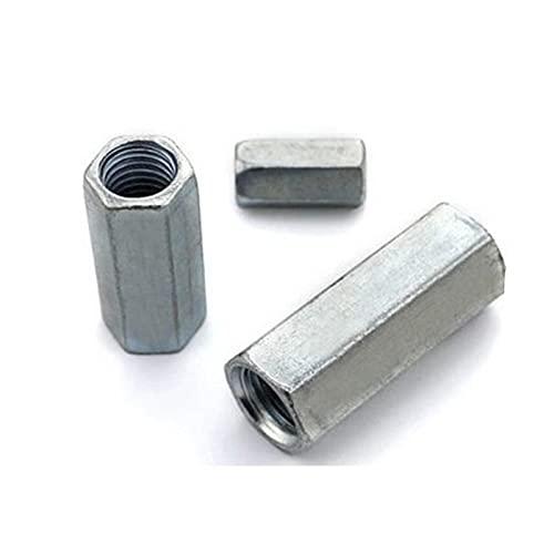 2-5PCS acero con zinc M3 M4 M5 M6 M8 M10 M12 Tuerca hexagonal de acoplamiento de varilla/Tuerca hexagonal larga galvanizada/Tuerca de rosca de conexión-m10x30 2 uds