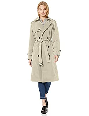London Fog Women's Double-Breasted 3/4 Length Belted Trench Coat, stone, L large from London Fog Women's Outerwear