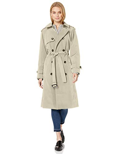 LONDON FOG Women's Plus Size Double-Breasted 3/4 Length Belted Trench Coat, Stone, 2X