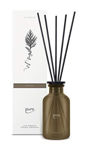 ipuro Classic cuir Raumduft - Raumduft mit sinnlicher und emotionaler Wirkung - Lufterfrischer mit hochwertigen Inhaltsstoffen 240 ml - aus Glas mit Rattanstäbchen