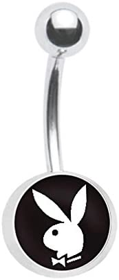 Officially Licensed Black Playboy Bunny Belly Navel Ring Piercing bar Body Jewelry 14g