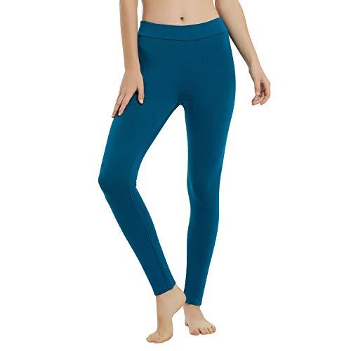 METARINO Merino Wool Leggings for Women,Midweight Pants Base Layer for Hiking,Running,Yoga,Blue,Medium